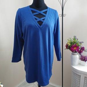 Roamans Blue Sexy Criss Cross V Neck Tunic
